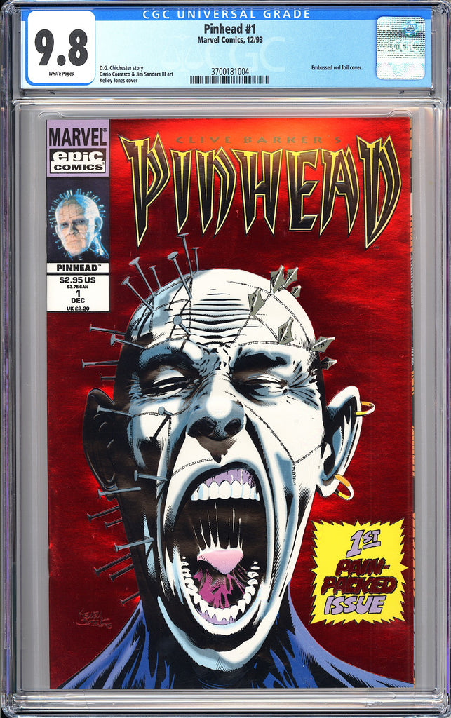Pinhead #1 CGC 9.8 White Pages 1993 3700181004 Embossed Red Foil Cover