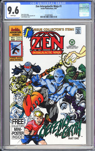 Zen Intergalactic Ninja #1 CGC 9.6 WP 1992 3724874005 Archie 1st Is. Collector's