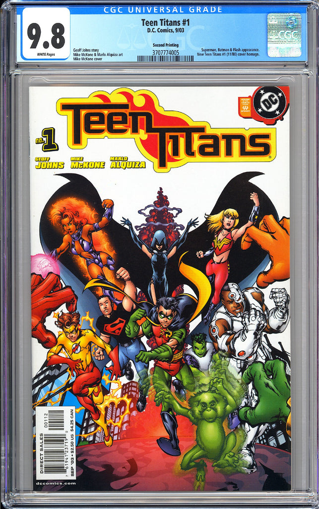 Teen Titans #1 CGC 9.8 White Pages (2003) 3707774005 Second Printing