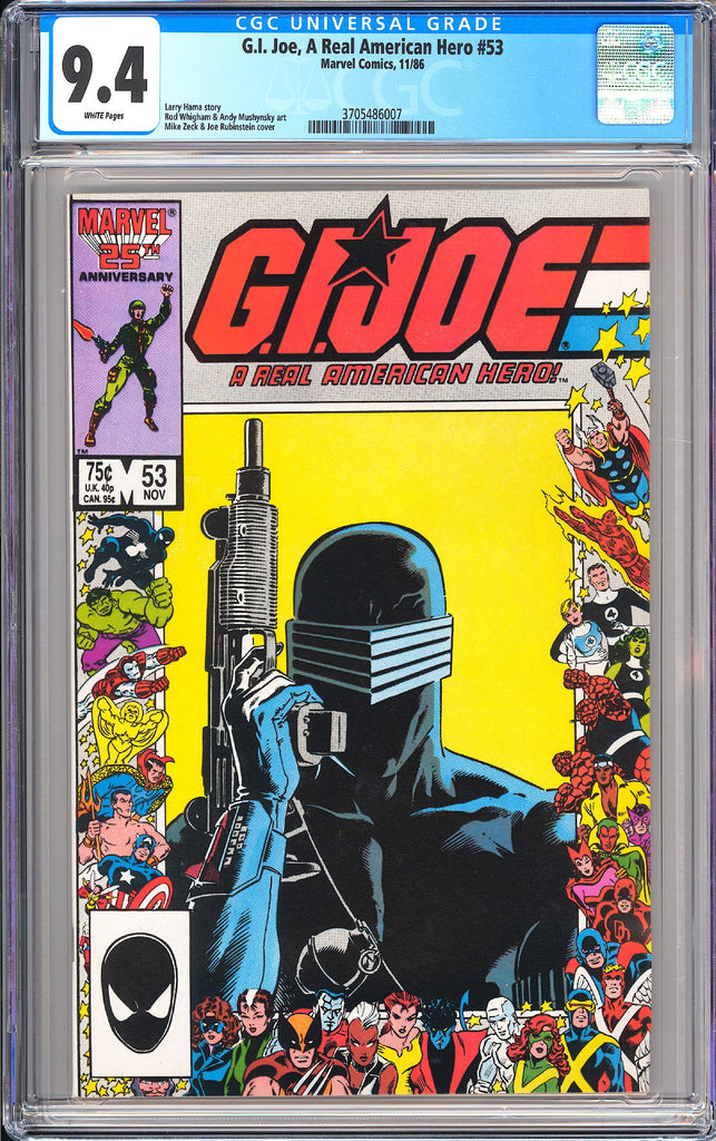 G.I. Joe A Real American Hero #53 CGC 9.4 WP 1986 3705486007 Snake Eyes