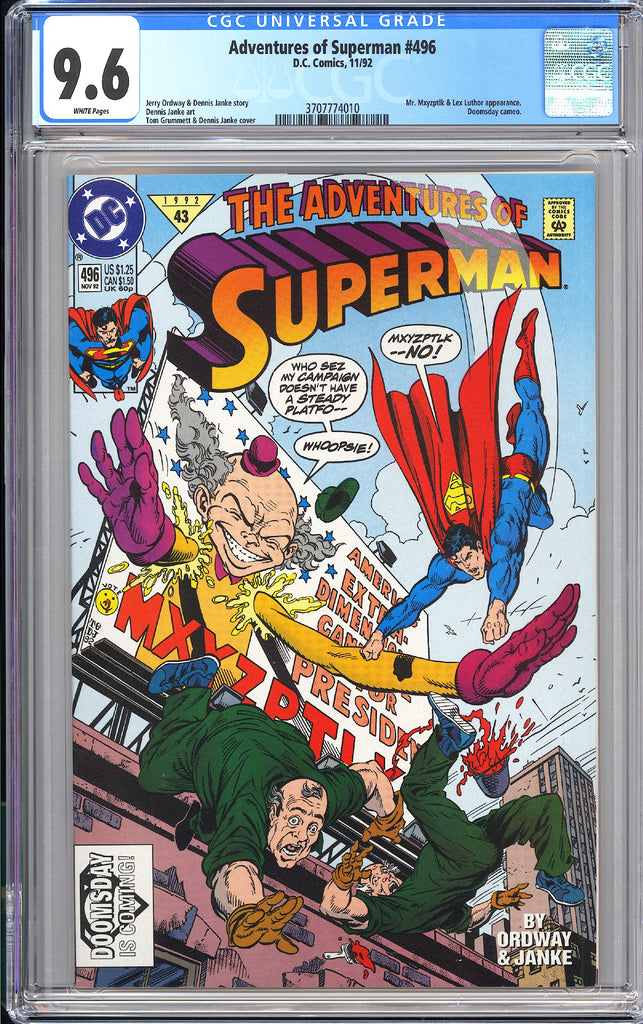 Adventures of Superman #496 CGC 9.6 WP 3707774010 Doomsday Cameo