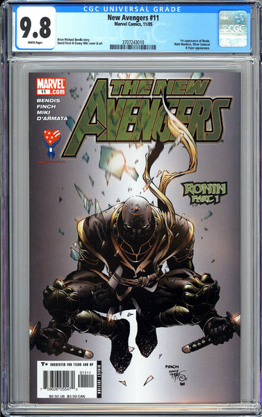 New Avengers #11 CGC 9.8 White Pages 2005 3707243010 1st Appearance of Ronin!