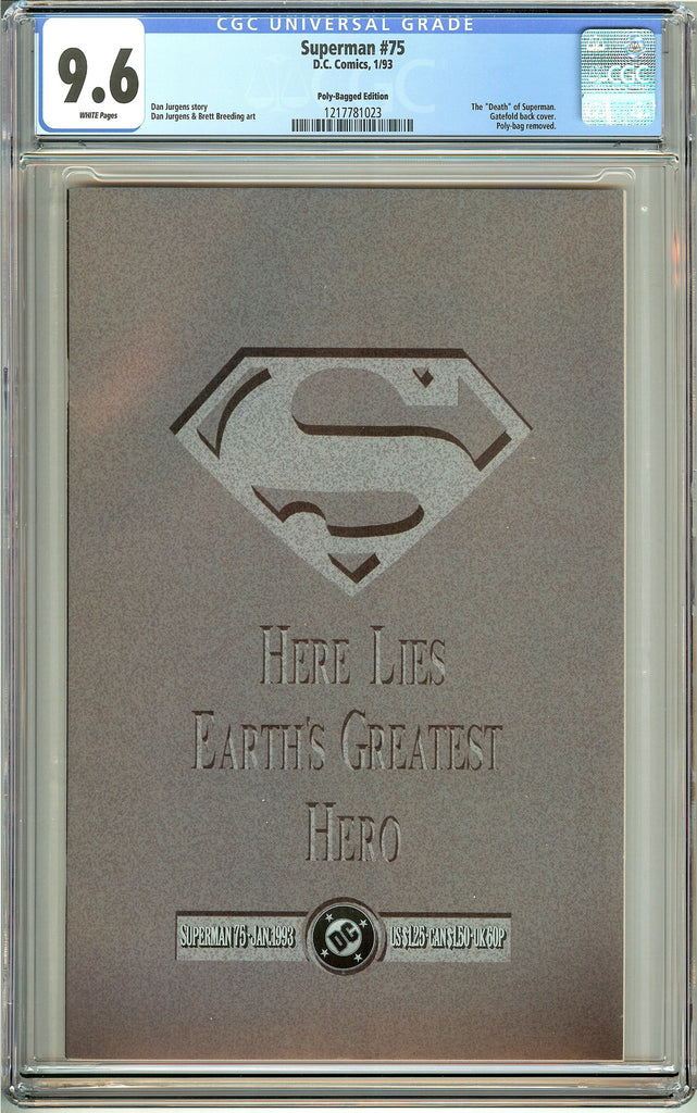 Superman #75 Polly-Bagged Ed. CGC 9.6 White Pages 1217781023 Death of Superman