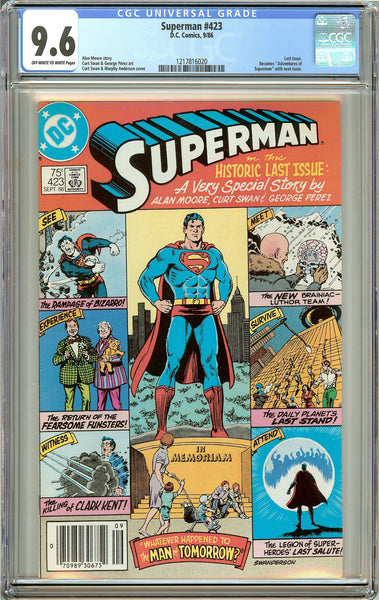 Superman #423 CGC 9.6 Off-White to White Pages 1217816020 Last Issue