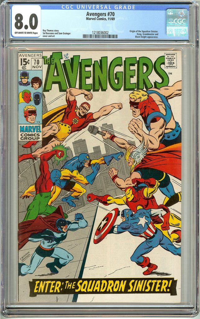 Avengers #70 (1969) CGC 8.0 OW to White Pages 1218036002