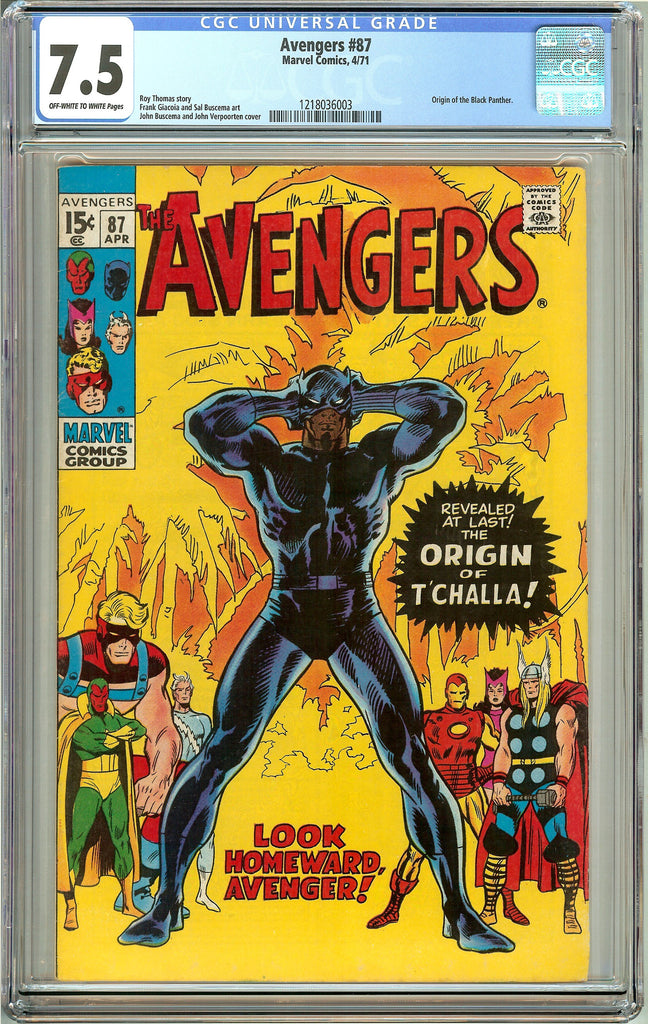 Avengers #87 (1971) CGC 7.5 OW to White Pages 1218036003