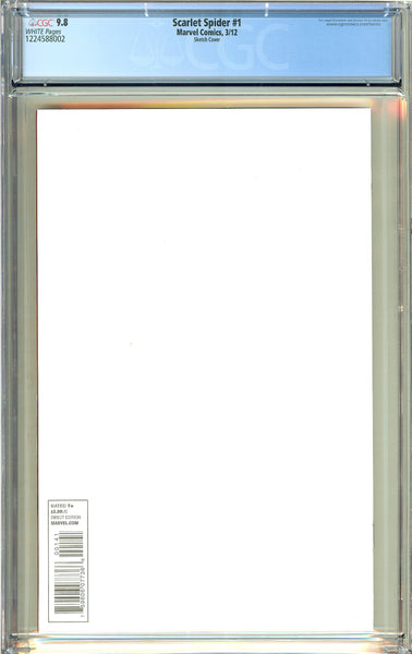 Scarlet Spider #1 (2012) CGC 9.8 White Pages 1224588002 Sketch Cover