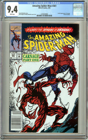 Amazing Spider-Man #361 (1992) CGC 9.4 White Pages 1225024002 Carnage