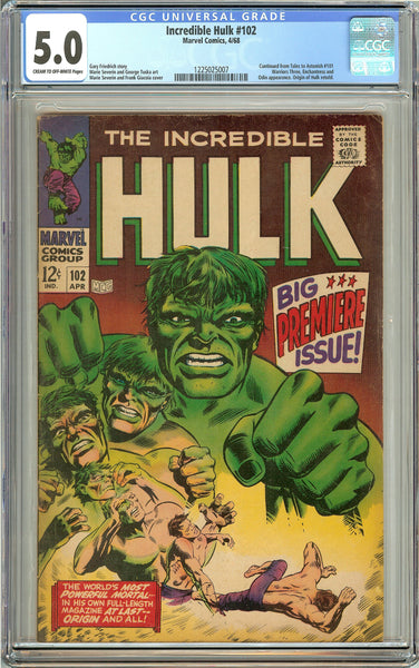Incredible Hulk #102 (1968) CGC 5.0 CTO-White Pages 1225025007