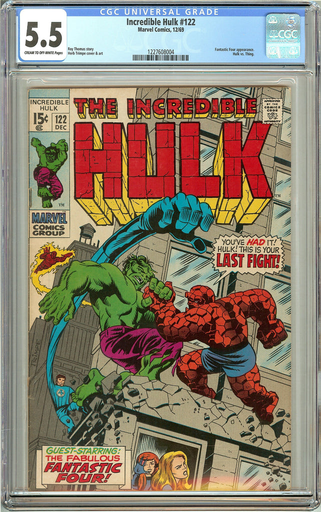 Incredible Hulk #122 (1969) CGC 5.5 CTO-White Pages 1227608004