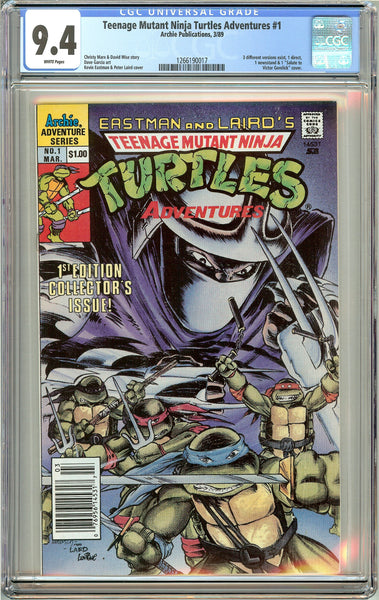 Teenage Mutant Ninja Turtles Adventures #1 CGC 9.4 White Pages 1266190017