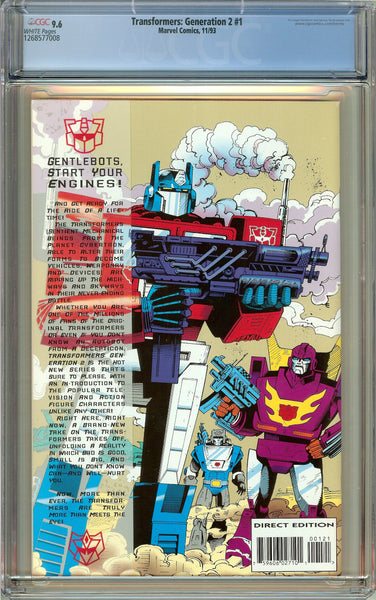 Transformers Generation 2 #1 (1993) CGC 9.6 White Pages 1268577008