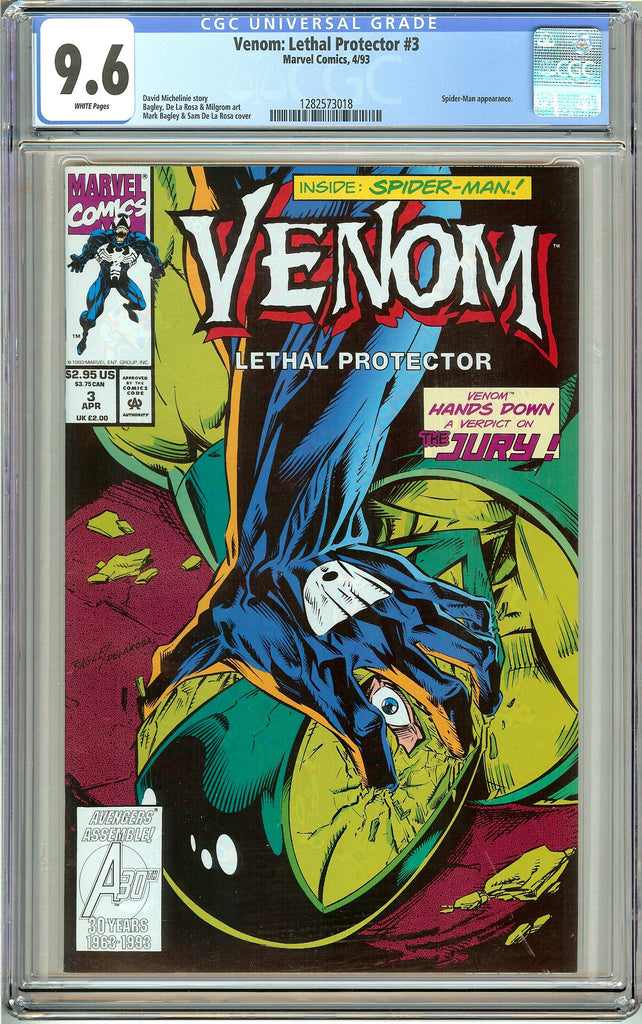 Venom: Lethal Protector #3 CGC 9.6 White Pages 1282573018 Marvel Movie