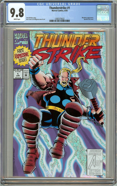 Thunderstrike #1 CGC 9.8 White Pages 1282573022 Speckle foil cover