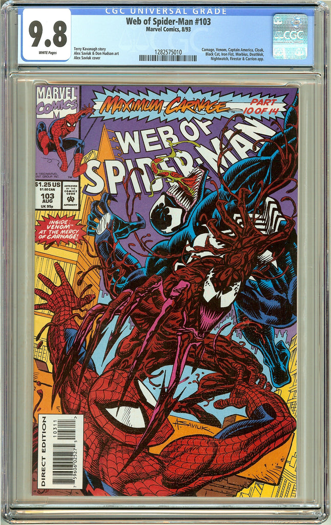 Web of Spider-Man #103 CGC 9.8 White Pages (1993) 1282575010