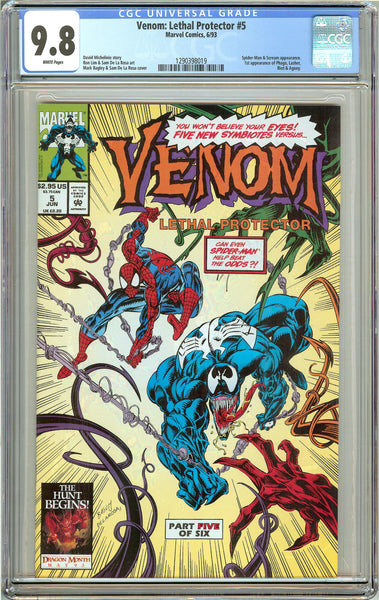 Venom Lethal Protector #5 CGC 9.8 White Pages 1290398019 Marvel Movie