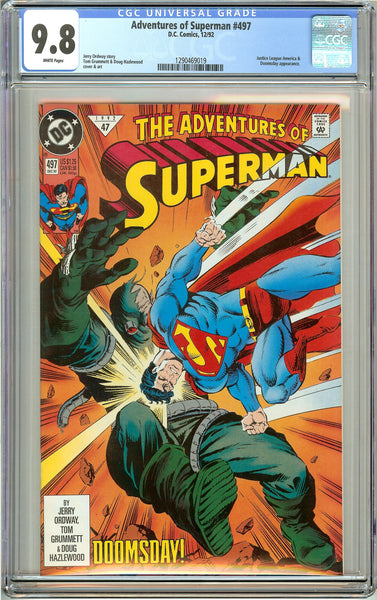Adventures of Superman #497 CGC 9.8 White Pages 1290469019