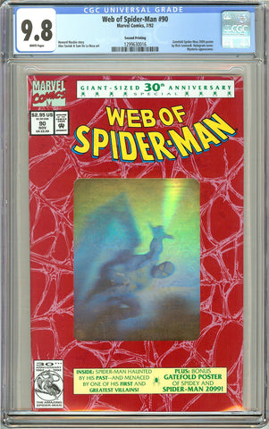 Web of Spider-Man #90 CGC 9.8 White Pages (1992) 1299630016 Gold Foil