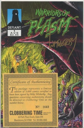 Warriors of the Plasm #1 Signed by Mike Witherby Defiant 1993 COA 1642/3000