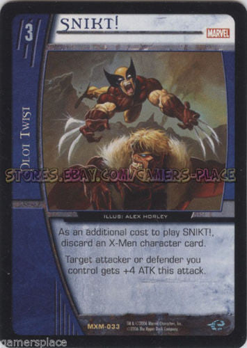 MXM-033 - SNIKT! - 4X - VS System - X-Men - Mint/NM - Unlimited Ed.