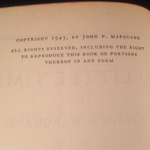 SO LITTLE TIME by John P. Marquand 1943 First Edition Hardcover