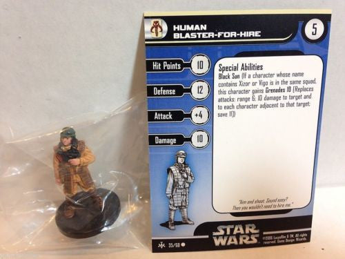 Star Wars Miniatures Bounty Hunters 35/60 Human Blaster for Hire (C)