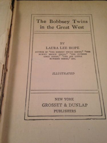 First Edition  BOBBSEY TWINS IN THE GREAT WEST by Laura Lee Hope Hardcover 1920