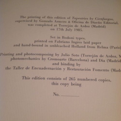 Signed First Edition Cienfuegos Tapestries Text by Kevin Power 1985 Rare