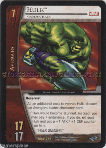 MAV- 014 - Hulk - 4X - VS System - The Avengers - Mint/NM - Unlimited Ed.