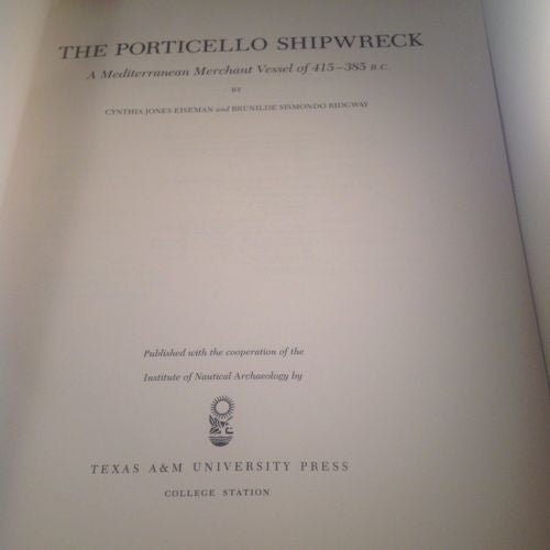 Porticello Shipwreck by Eiseman,1987 First Edition  0890962448