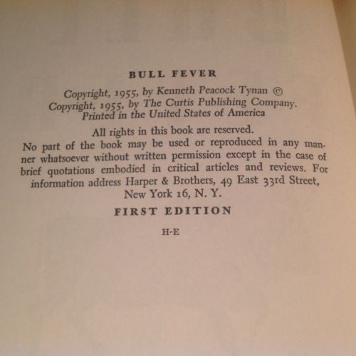 FIRST EDITION  BULL FEVER by Kenneth Tynan 1955 Illustrated