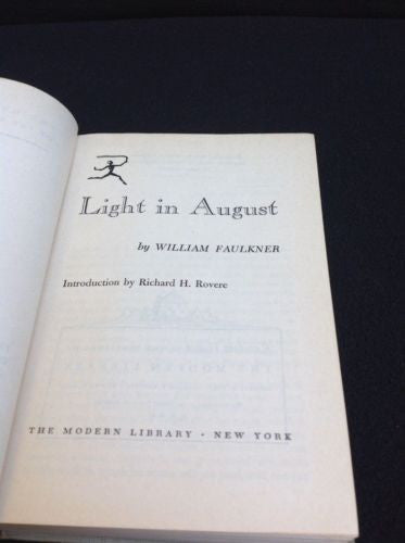 Light in August.by William  FAULKNER, 1950
