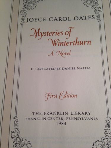 Mysteries of Winterthurn by Joyce Carol Oates Signed First Edition, Franklin