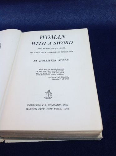 WOMAN WITH A SWORD by Hollister Noble 1948 First Edition