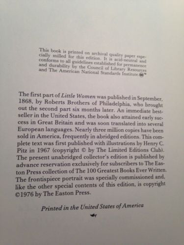 Little Women by Louisa May Alcott Collectors Edition Easton Press 1976