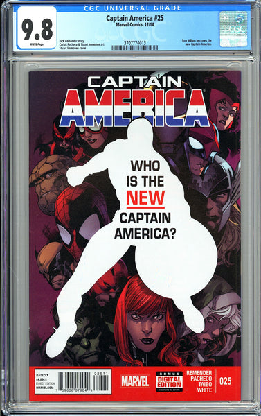 Captain America #25 CGC 9.8 White Pages (2014) 3707774013