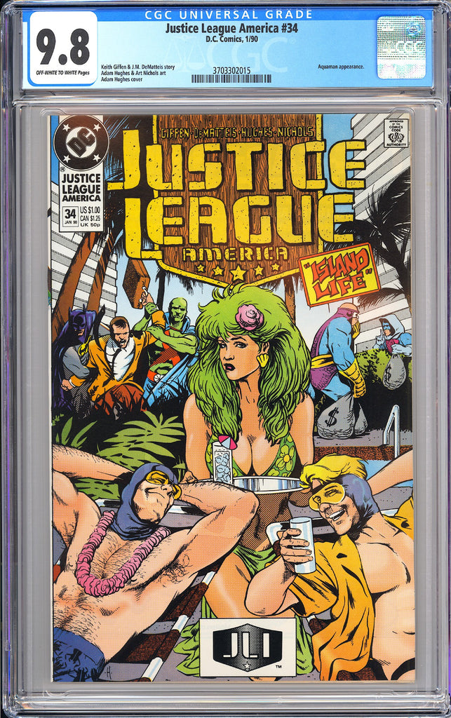 Justice League America #34 CGC 9.8 OWT White Pages 3703302015