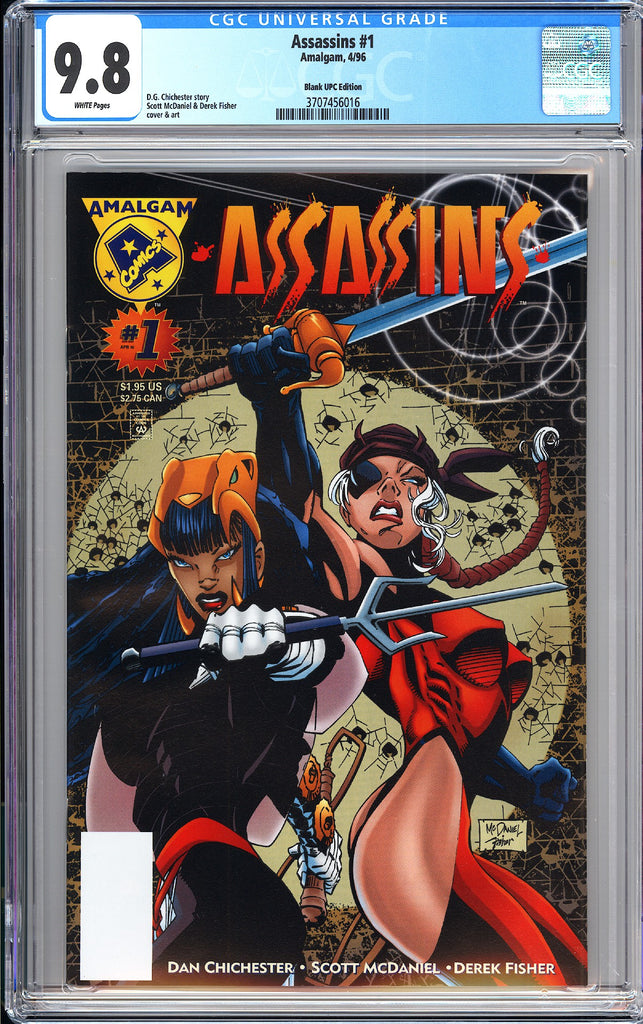 Assassins #1 CGC 9.8 WP (1996) 3707456016 Blank UPC Edition