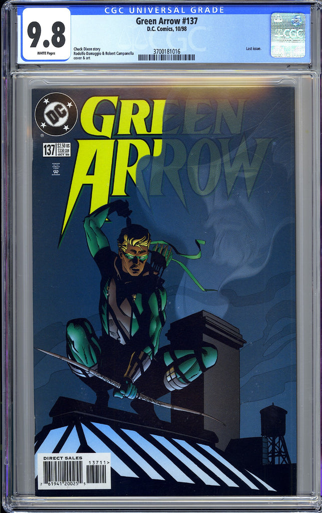 Green Arrow #137 CGC 9.8 WP 1998 3700181016 Last Issue Oliver Queen Returns!