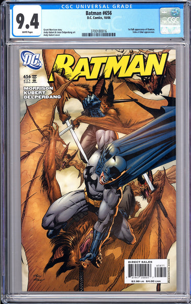 Batman # 656 CGC 9.4 White Pages 3700180016 Damian