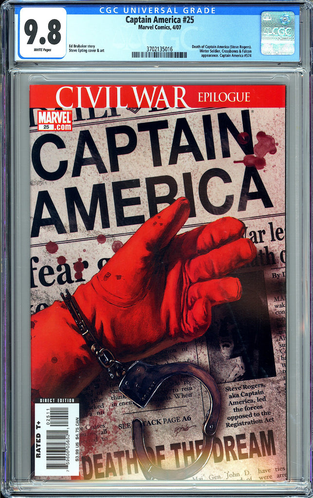 Captain America #25 CGC 9.8 WP 2007 3702135016 Death of Captain America
