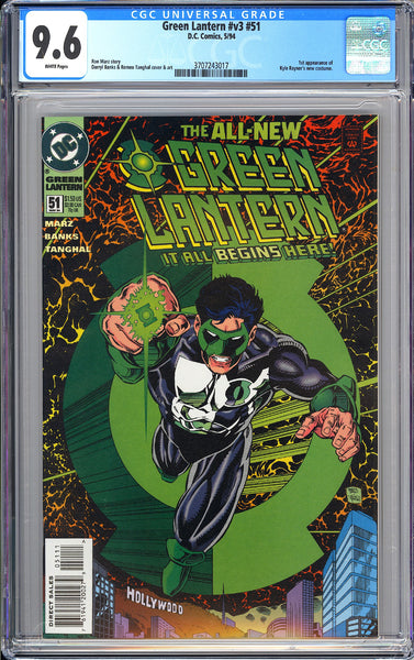 Green Lantern #51 CGC 9.6 White Pages 3707243017 New Costume