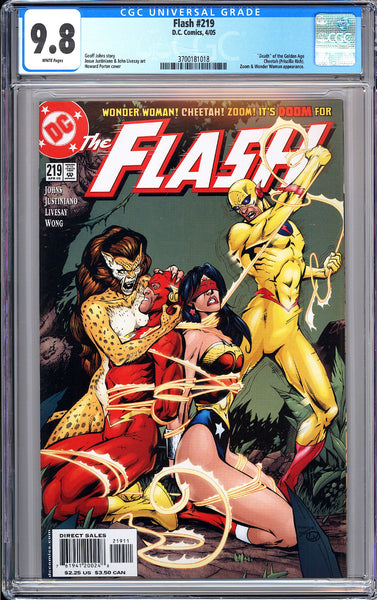 "Flash #219 CGC 9.8 WP 2005 3700181018 """"Death"""" of Golden Age Cheetah"