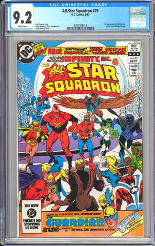 All-Star Squadron #25 CGC 9.2 White Pages (1983) 3707768018 1st Infinity Inc.