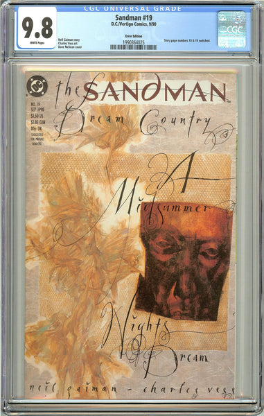 Sandman #19 CGC 9.8 White Pages (1990) 1990364025 Error Edition