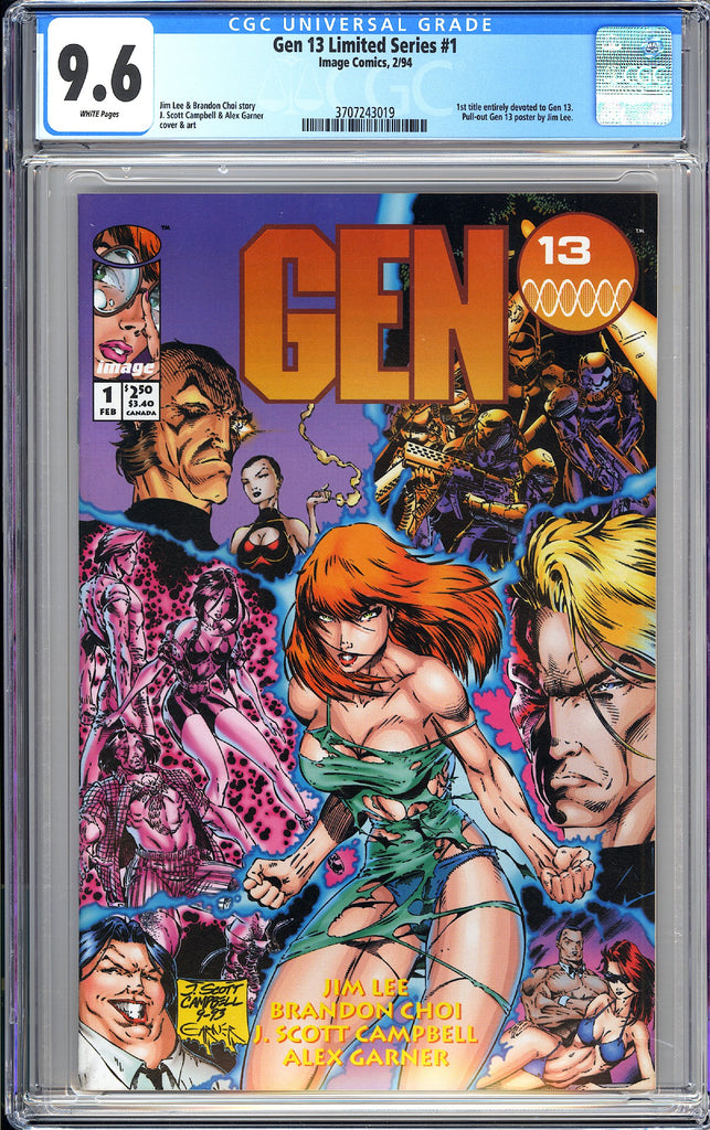Gen 13 #1 Limited Series CGC 9.6 White Pages 1994 3707243019 Gen 13 Poster