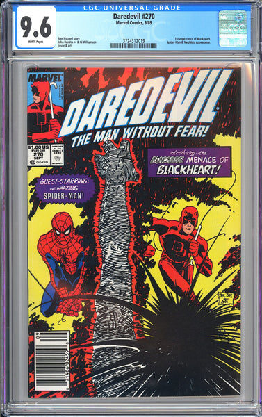 Daredevil #270 CGC 9.6 WP 1989 3724312019 1st App of Blackheart Newsstand Editio