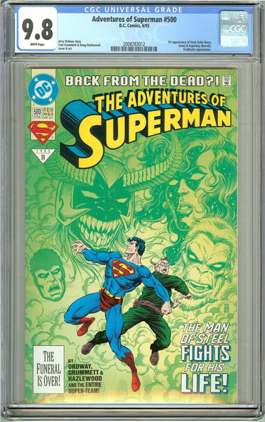 Adventures of Superman #500 CGC 9.8 White Pages 2008783012