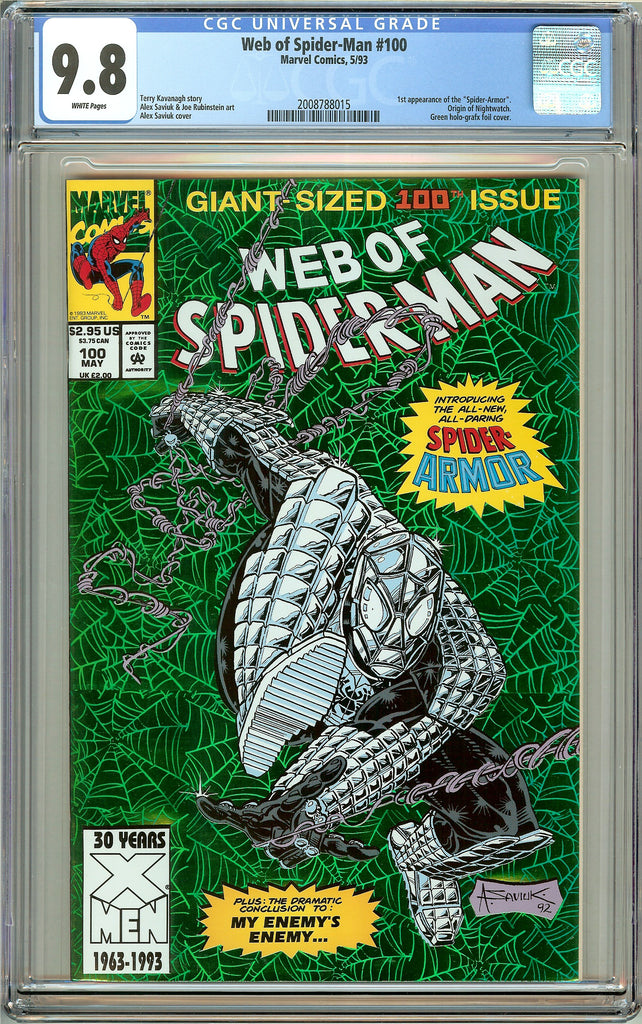 Web of Spider-Man #100 CGC 9.8 White Pages (1993) 2008788015