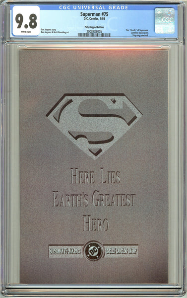 Superman #75 Polly-Bagged Ed. CGC 9.8 White Pages 2008789005 Death of Superman